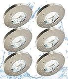 Trango Conjunto de 6 Focos empotrables LED regulables IP44 en cromo TG6729IP-068GU5SD redondo con 6 bombillas LED regulables para baño, ducha, iluminación empotrada, focos de techo, puntos