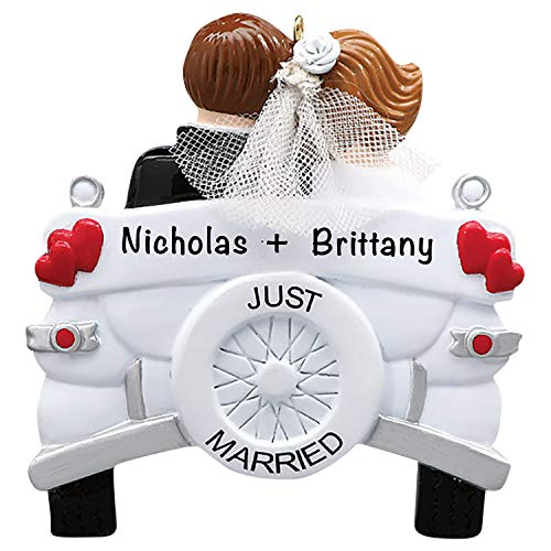 Just Married Wedding Car Ornament 2021 – Charming, Premium Polyresin Personalized Christmas Ornaments – Durable, Lightweight Wedding Ornament 2021 and Our First Christmas Ornament 2021
