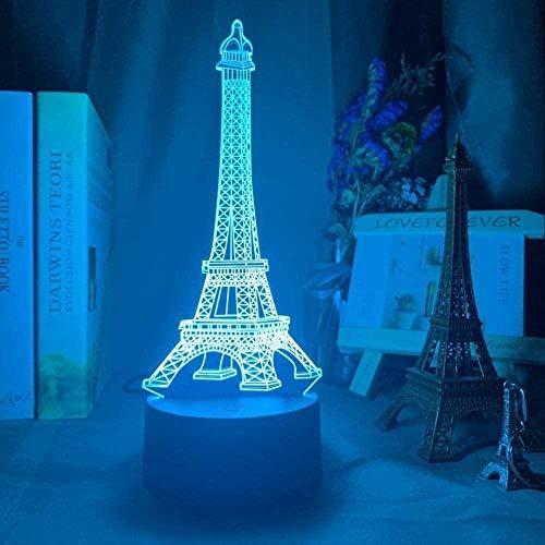 Luz De Noche Lámpara 3D Juguetes 16 Colores Que Cambian Remoto París Torre Eiffel Ilusión 3D Luz De Noche De Bebé Led Cambio De Color Luces De Decoración De Dormitorio Regalo De Cumpleaños Único Lámpa