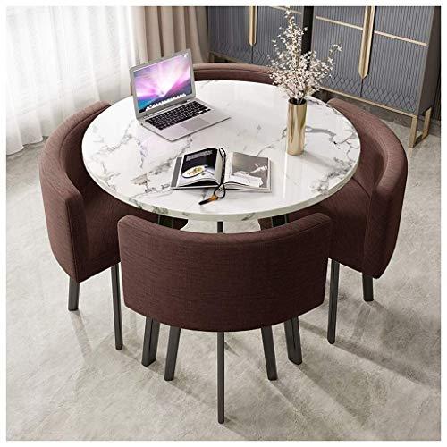 TXOZ-Q Round Simple Home Wohnzimmer Esstisch 90cm Marmor Büro Freizeit Retro Metallbeine 4 Baumwolle Leinen Sitze Business Hotel Rezeption Café Dessert