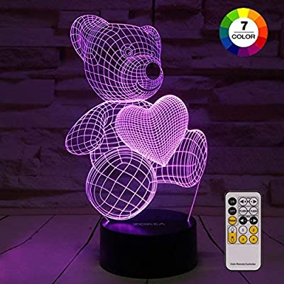 Night Light 3D lamp 7 Colors Changing Nightlight with Smart Touch & Remote Control 3D Night Light for Kids or as Gifts for Women Kids Girls Boys (Teddy Bear) from ZOKEA