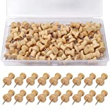 SUMAJU 100 Pcs Wood Push Pins, Wooden Head Pins Steel Thumb Tacks for Cork Boards Map Photos Home Office Craft Projects