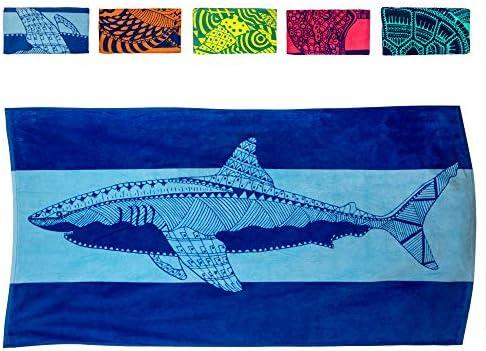Nova Blue Shark Beach Towel Blue with A Tropical Design Extra Large XL 34 x 63 Cool Hawaiian product image