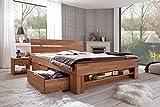 Elfo Bett Futonbett Kernbuche-massiv geölt 180 x 200 cm inkl. 4 Bettkasten auf Rollen und Fußteilregal Sofie - 4