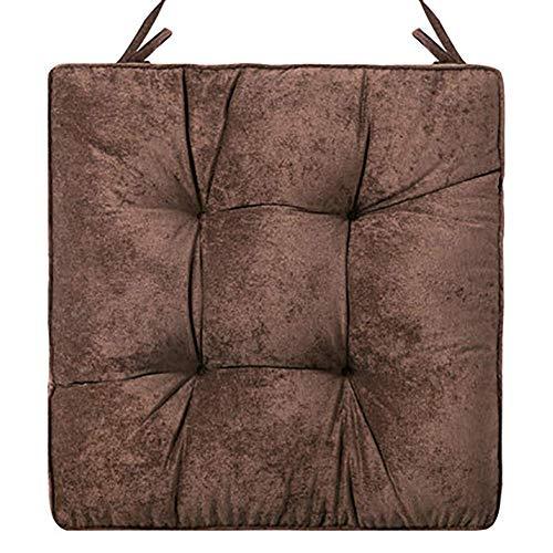 WLVG Almohadillas cuadradas engrosadas para sillas, Alfombrilla Japonesa Mate para Interiores y Exteriores Cojín para Oficina Cojín para Asiento con Correas Soportes lumbares Cojín para Silla-A 4