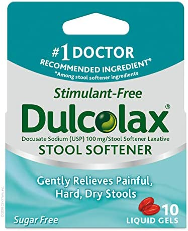 Dulcolax Gentle Relief Stool Softener Laxative, Docusate Sodium, 100mg Liquid Gel Tablets, 100 Count