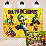 Super Mario Backdrp Luigi Twin Brothers Golden Glitter Background Birthday Party Boys Game Photography Cake Table Supplies Decoration 5x3FT
