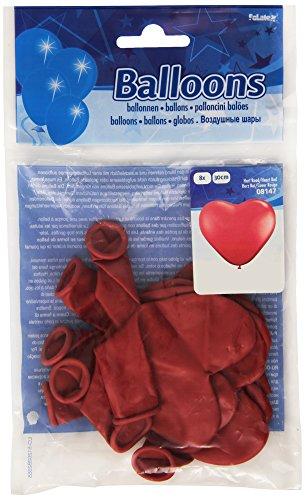 Folat- Ballons en Forme de Coeur Rouges-8 pièces, 08147, Costumes