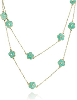 Bling Jewelry Flower Long Gold Plated Brass Crystal Accent Station Tin Cup Chain Wrap Layer Clover Necklace Women 40 Inch More Colors