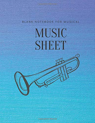 Music Sheet Blank Notebook for Musical: Standard Manuscript Paper for Musicians, Music composition notebook for Song Writing Journal Books Gifts : Blue Cover (Vol.2)