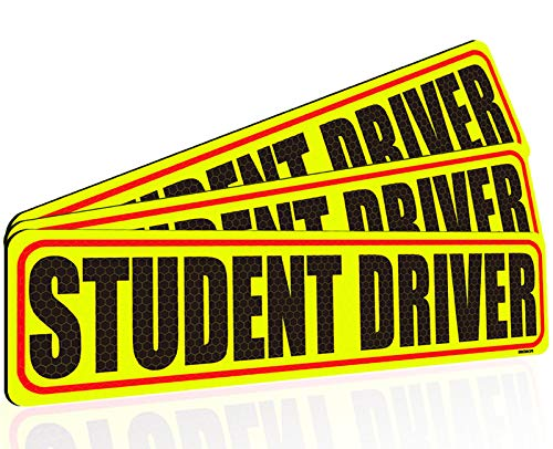 BOKA Student Driver Magnet for Car, 12in Large Please be Patient New Driver Vehicle Bumper Magnet for Car Signs, High Reflective Magnetic Sticker for Novice Rookie Driver, Removable & Reusable, 3 Pack