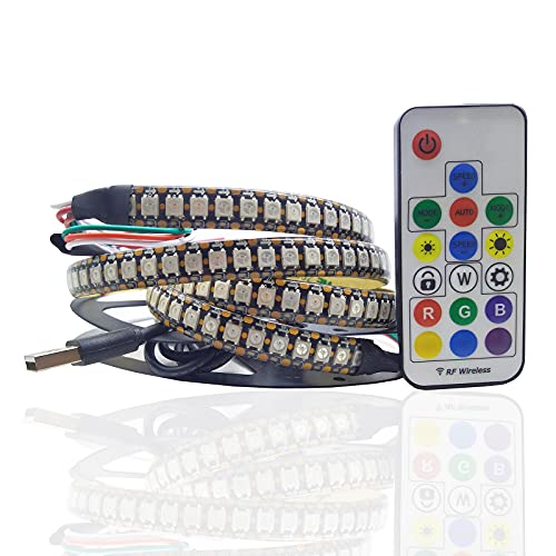 WS2812b RGB 144 tiras LED 5V ws2812 negro PCB multicolor 3M IP65 impermeable USB tira luces con control remoto