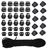 40pcs Plastic Cord Locks with 1/8-Inch 65ft Elastic Cord Stretch String for Drawstring, Shoelaces, Clothing, Backpack, Bags (Black)