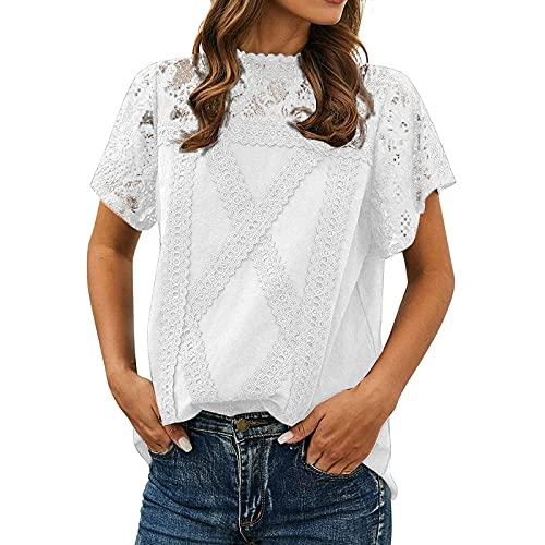 XOXSION Camiseta de verano para mujer, con cuello redondo, manga corta, túnica, bonita, de encaje, parte superior Blanco XXL