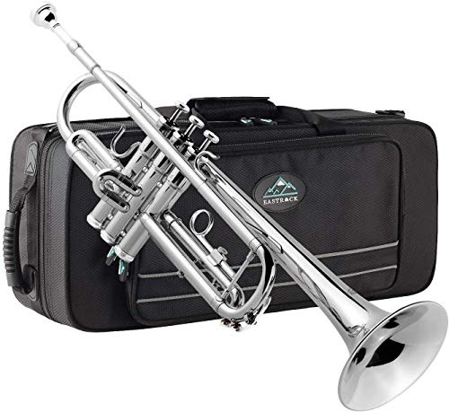 EastRock Trumpet Brass Standard Bb Trumpet Set for Beginner, Student with Hard Case, Gloves, 7C Mouthpiece, Trumpet Cleaning Kit(Nickel Plated)
