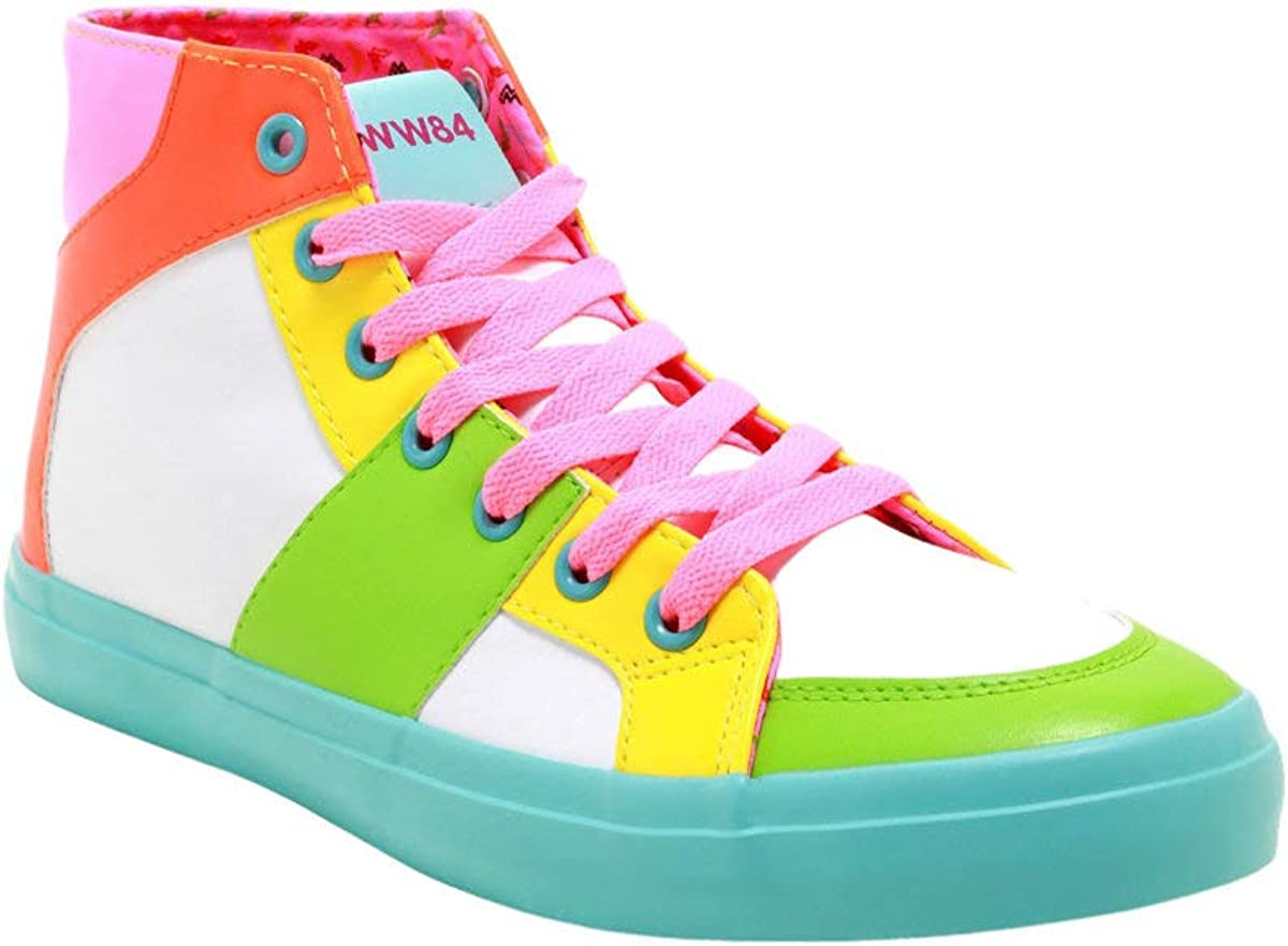 Elegant DC Comics Wonder Direct store Woman 1984 Neon Color-Block Sneakers Hi-Top