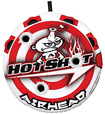 Airhead Hot Shot   1-2 Rider Towable Tube for Boating, Red/White (AHHS-12)
