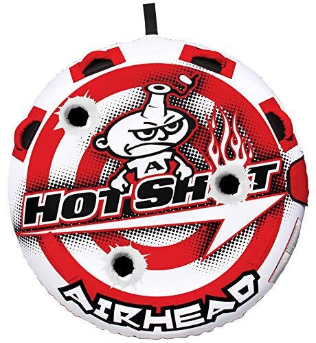 Airhead Hot Shot | 1-2 Rider Towable Tube for Boating, Red White (AHHS-12)