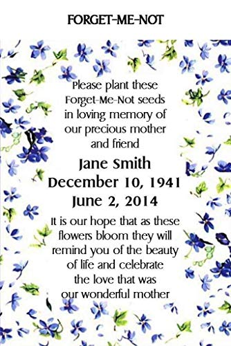 Memorial Funeral 100 qty. Forget-Me-Not Seed Packets
