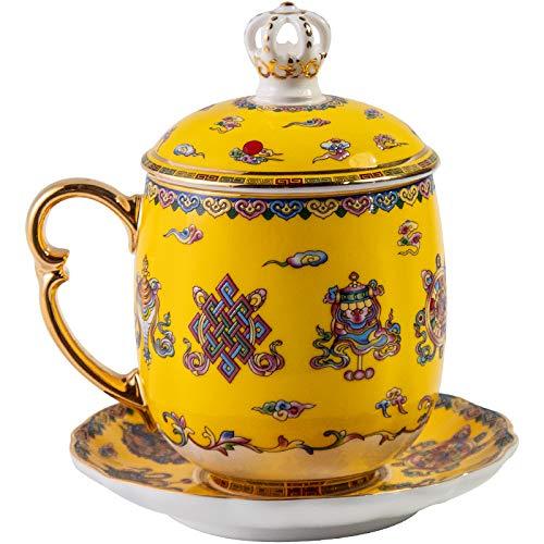 HRDZ Taza de café con TapaTaza de té de Gran Capacidad Taza de Oficina Taza de EsmalteJuego de té de la Corte