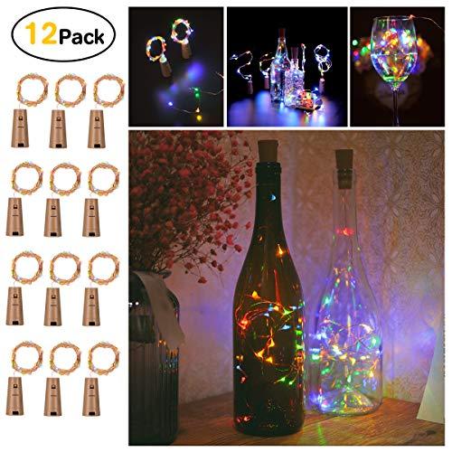 Flaschen Lichter, Sunniu 12 Packs Led Kork Kupferdraht Sternenweinflasche Lichterkette, batteriebetriebene Kork Lichter für Schlafzimmer, Parteien, Dekoration (2m / 7.2ft Multi-Colored)