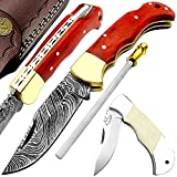 Pocket Knife Orange Wood 6.5'' Damascus Steel Pocket Knife for Men Folding Knife Back Lock Knives Set For Hunting Camping Hiking Damascus Hunting Knife Real Sheath Best EDC Outdoors & Sports camping Knife 4 Pcs Knife Set
