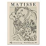 Carteles e impresiones nórdicos cuadros arte de pared Picasso Matisse chica abstracta floral familia sin marco lienzo pintura A4 20x30cm