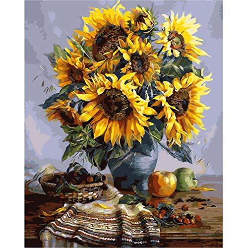 DMLGQ DIY digitaal schilderij, set voor olieverfschilderijen, thuisdecoratie, geschilderd door u om te vullen op canvas, 40 x 50 cm, vruchten, bloempot, zon Frameloos.