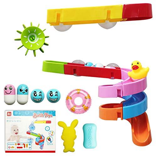 Juguetes de baño, pista de baño con ventosas, juguetes flotantes de baño de animales del océano, juguetes de agua de pista de mármol para bañera, juego de piscina