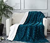 DaDa Bedding Lavish Emerald Green Blue Throw Blanket - Ruched Mermaid Scales Design Faux Fur White Sherpa - Soft Warm Plush Textured Bright Vibrant Jewel Tones Embossed for Bed/Couch - 90' x 90'