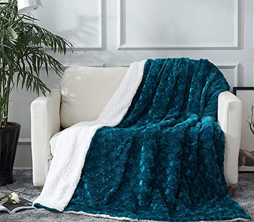 DaDa Bedding Lavish Throw Blanket - Ruched Mermaid Scales Faux Fur Sherpa - Soft Warm Plush Fleece Textured - Bright Vibrant Embossed Green Blue Teal & White - 63' x 90'