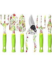 Trädgårdsredskapssatser - 6 st Kraftiga aluminiumträdgårdsredskap i aluminium, blommigtryck Trädgårdspresenter för kvinnor, utomhus trädgårdsarbete handverktyg