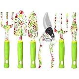 Juegos de herramientas de jardinería - Suministros de jardín de alta resistencia de 6 piezas, Juego de regalo de jardinería con estampado floral para mujeres, Herramientas manuales de jardinería