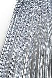 Haus und Deko Fadenvorhang Fadengardine mit Lurex veredelt Metallic Effekt Gardine Vorhang Silber 140x250 cm