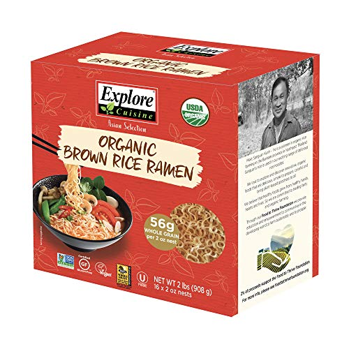 Explore Cuisine Organic Brown Rice Ramen - Family Pack - 2 lbs - Healthy, Whole-Grain Pasta Alternative - Easy to Make - USDA Certified Organic, Non-GMO, Gluten-Free, Vegan, Kosher