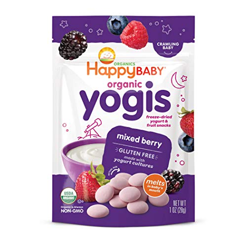 Happy Baby Organic Yogis Freeze-Dried Yogurt & Fruit Snacks Mixed Berry, 1 Ounce Bag (Pack of 8) (Packaging May Vary) Organic Gluten Free Easy to Chew Probiotic Snacks for Babies and Toddlers