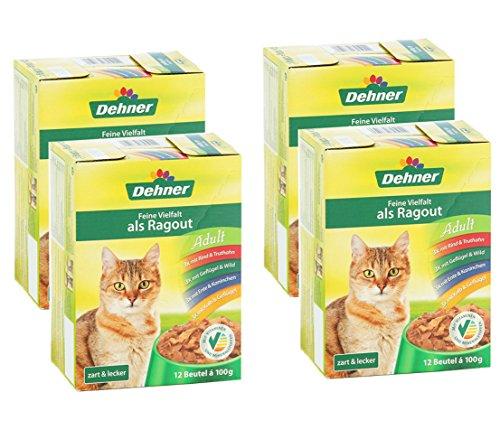 Dehner Katzenfutter, Multipack 4 x 12 Beutel, feine Vielfalt, ohne Fisch, 4 x 1200 g (4.8 kg)
