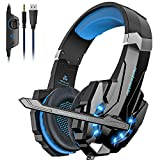 Noise Cancelling Stereo Gaming Headset Over Ear Headphones for PS4 PC Xbox One Controller Mobile Phone Laptop Mac Nintendo Switch Games with Mic LED Light Bass Surround Soft Memory Earmuffs