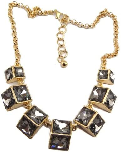 New Womens Color Choose Golden Metal Geometry Crystal Choker Necklace(wiipu-A90)