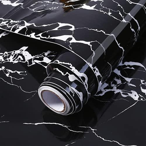 KaiKBax Rollo de papel de contacto de mármol negro autoadhesivo, a prueba de aceite, resistente al agua, para papel de pared de muebles de cocina, decoración de pared, 24 × 80 pulgadas