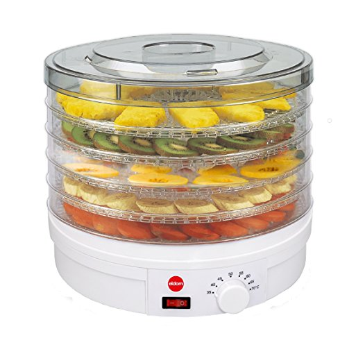 Deshidratador De Setas, Verduras, Frutas SG200N Crusty ELDOM, 5 Bandejas Con Diametro 32 Centimetros,Potencia 245 Watios