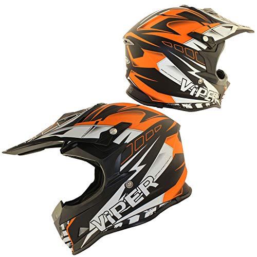 ViPER RSX121 Casco Moto Motocross Enduro Avventura ATV MTB UTV MX Pit Mini Bici Protettivo (Arancia, S (55-56 CM))