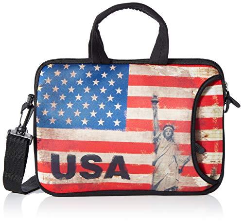 Luxburg® Schultertasche, 14 Zoll, weich, für Notebooks, mit Handgriff, Design: USA-Flagge