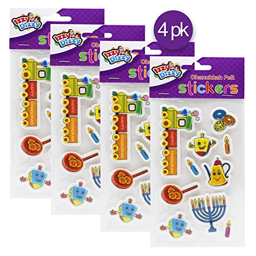 Hanukkah Felt Stickers - 4 Pack - Dreidels, Menorahs, Donuts and More - Chanukah Stationary, Arts and Crafts - Gifts and Games - Izzy 'n' Dizzy