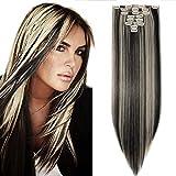 SEGO Rajout Cheveux Syntetique a Clip Extension pas Cher Raide - 66 cm Noir Naturel Mèche Blond Blanchi - [8 Piece 18 Clips] Clip in Hair