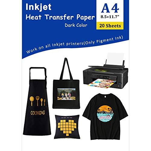 "Iron-On Heat Transfer Paper for Dark Fabric 20 Pack 8.3x11.7"" T-Shirt Transfer Paper for Inkjet Printer Wash Durable, Long Lasting Transfer, No Cracking"