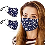 Copper Infused Face Mask With Extra Filter Pocket Protection Layer - Reusable, Washable, 3D Fit for Women (2-Pack, Flower)
