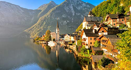 BVCK 1000 Piezas Puzzles 3D,Casa Cerca del Lago Halshtetter, Austria Fondos De Pantalla E Imag Personalizado De Montaje Rompecabezas Divertido,