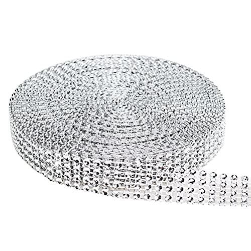 Wowot - Nastro con 4file di strass - per addobbi matrimoniali, compleanni, decorazioni e creazioni artistiche - lunghezza 9,1m - colore: argento