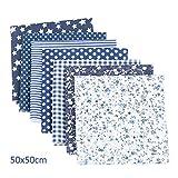 CHYU Baumwollstoff meterware Stoffpaket 7 Stück je 50 x 50